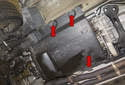 To remove the transmission splash shield: Remove the final three 8mm fasteners (red arrow).