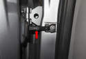 The door check (red arrow) and rubber seal are both available as replacement parts, as well as the fasteners.