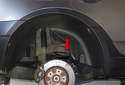 Rear liner: The rear wheel well liner (red arrow7) is one piece, wrapping around the inner fender.