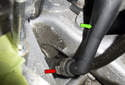This photo shows the oil separator lower hose.
