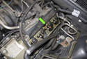 I will show you how to replace a coil and spark plug on the left side of the engine (green arrow).