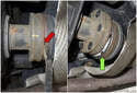 Separate the differential flange and driveshaft.