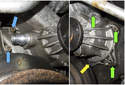 Remove five 10mm water pump mounting fasteners.