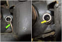 Front Differential: Pump (green arrow) oil into the fill plug hole until it runs out (yellow arrow).