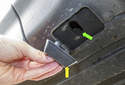 If a jack pad is missing, replace it before jacking the vehicle, otherwise body damage can occur.