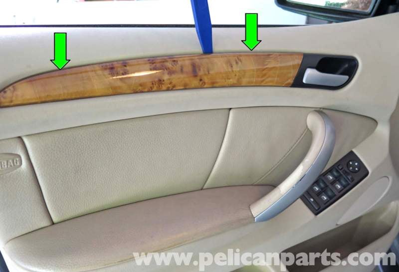 Using a plastic prying tool gently pry out the decorative trim panel (green arrow & BMW X5 Door Panel Replacement | E53 (2000-2006) | Pelican Parts ... Pezcame.Com
