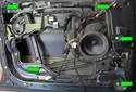 Now remove the five 10mm window regulator-mounting fasteners (green arrows).