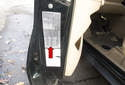 Using the sticker on your driver doorjamb, you can also read the tire pressure specifications as well as the compatible tire size options (red arrow).