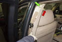 B-pillar trim: Move the trim panel away from the B-pillar.