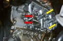 This photo shows the lower engine block with the alternator gasket removed.