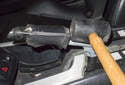 To replace the handle, use a soft-faced hammer and gently tap it off the lever.
