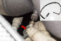 Unscrew the sensor (red arrow) and remove it from the exhaust header.