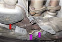 To replace only the Y-pipe (red arrow), remove the mufflers, see our tech article on mufflers removing.