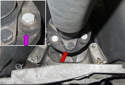The flex-disc (red arrow) is just out of sight and is tucked above and forward of the transmission cross member.