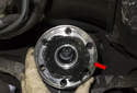 Then slide the flange (red arrow) off the differential.