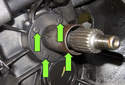 To replace the throwout guide bushing, remove four 10mm fasteners, then remove guide bushing from transmission.