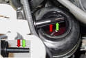 Bleeding power steering pump: Before starting the engine, fill the power steering reservoir with clean fluid to the MAX level (red arrows) on the dipstick.