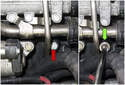 Bank 2: Working at the knock sensor, remove the 13mm knock sensor fastener (red arrow).