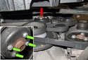 Before removing the engine drive belt, loosen the four 10mm water pump (red arrow) pulley fasteners.