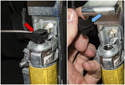 Unclip the electrical connector (red arrow) retainer using a small flathead screwdriver, then remove it (blue arrow).