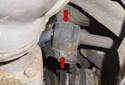 Rear: Remove the two sway bar bushing 6mm Allen fasteners (red arrows).