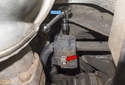 Rear: Once loose, I like to use a stubby ratchet (blue arrow) to remove the fasteners (red arrow).