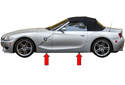 BMW Z4 models have 4 solid plastic jacking pads, slightly behind front wheels and slightly in front of rear wheels (red arrows).