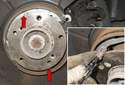 Using a long 5mm Allen bit, remove parking brake shoe retaining clips by rotating 90° and pulling away from brake shoes.