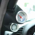 Shown here is a boost gauge mounted on the driver's side A-pillar.