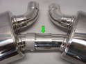 The two mufflers are joined together to reduce resonance and balance the exhaust on both sides.