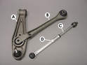 This photo shows the main components of the front suspension on the Boxster.
