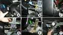 This photo details the steps required to remove the ignition cylinder / steering lock assembly.