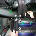 This photo shows the process of routing the cable from the speakers to the radio.