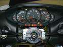This photo shows the 996 gauge cluster installed in the Boxster.