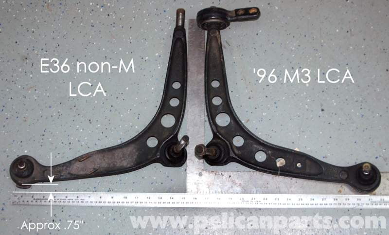 This picture clearly shows the difference between E36 control arms