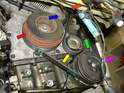 This diagram shows the components driven by the serpentine belt on a typical MINI Cooper S four-cylinder engine.