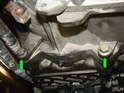 Remove the two lower 16mm mounting bolts holding the transmission to the engine.