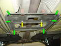 Remove the six 10mm bolts holding the exhaust mount bracket to the body (green arrows) as well as the two 10mm bolts securing the exhaust mounts to the bracket (yellow arrows).
