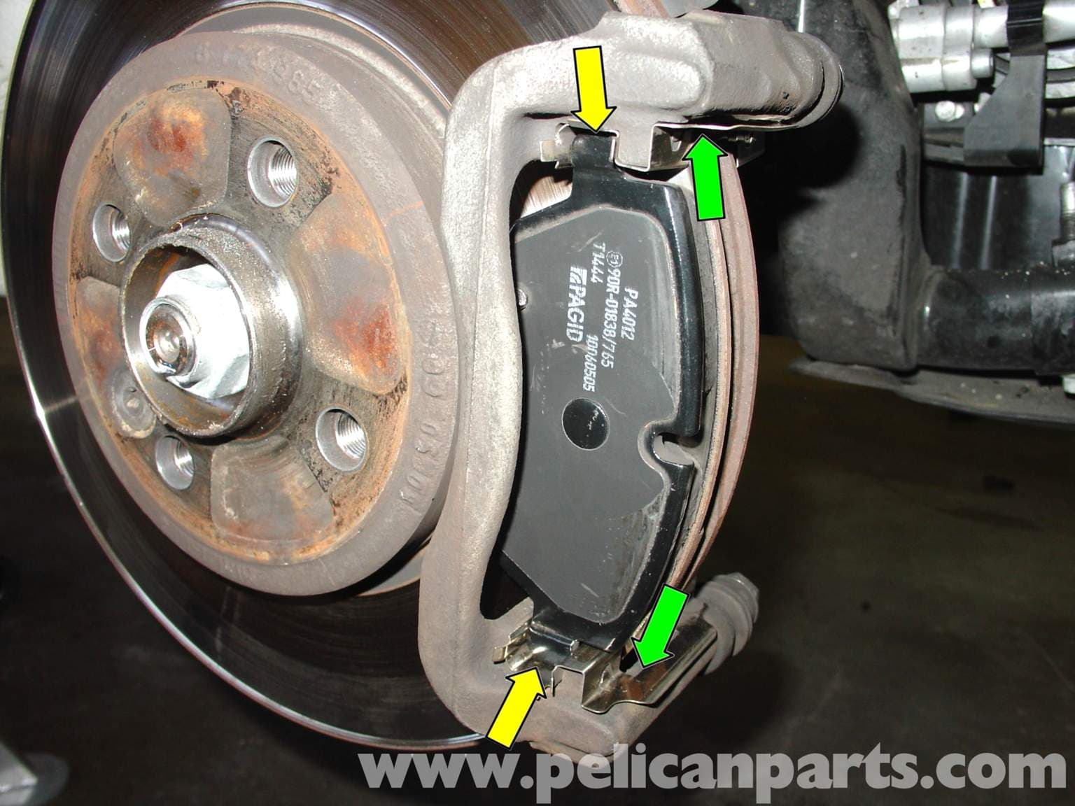 mini cooper brake pad replacement r50 r52 r53 2001 2006 pelican parts diy maintenance article. Black Bedroom Furniture Sets. Home Design Ideas