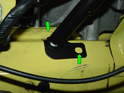 Mark the bottom holes in the strut on the frame rail.