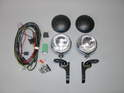 Shown here are the components included in the auxiliary driving light kit for the MINI.