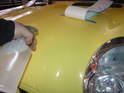 You will need to prepare a solution of soapy water to act as a lubricant while setting the stripe.