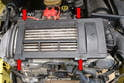 The intercooler has a vanity shroud protecting it that you must first remove.
