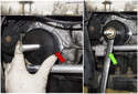 Install the seal driver portion (red arrow) of MINI tool 11 9 601 to the threaded shaft.