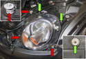 To adjust the headlight beam aim, open the engine hood and look for the small plastic Phillips head adjusters (green arrows) at the back corners of the headlights.