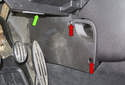 The heater core is located above the accelerator pedal in the heater housing (green arrow).
