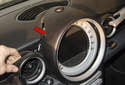 Slide the instrument cluster trim forward (red arrow).