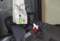 C-pillar trim: Remove the seat belt anchor.