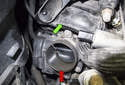 The throttle body (red arrow) is located at the bottom right of the intake manifold (green arrow).