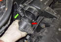 Remove the sensor from the intake air-housing lid (green arrow).